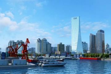 """形似""""風帆"""",青島這一地標性建筑年底封頂"""